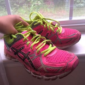 Bright neon pink and yellow ASICS